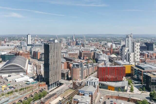 Manchester city center skyline